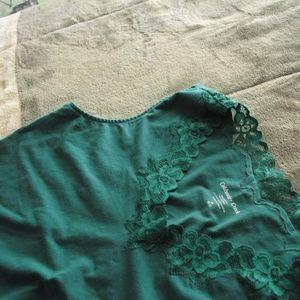 aqua green lace trim tank top